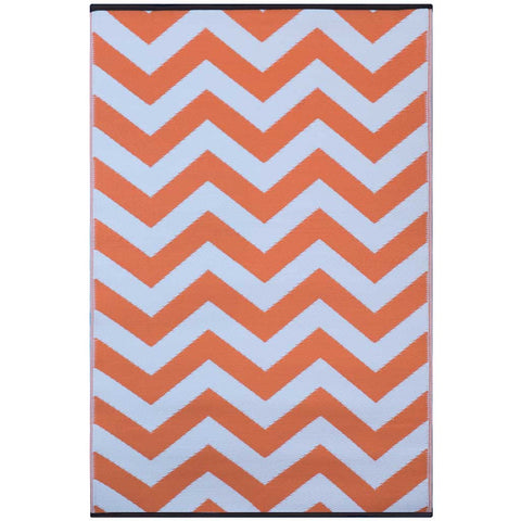 Orange and White Psychedelia Indoor/Outdoor Rug