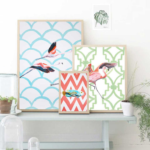 Flying Flamingos Painting Art Print