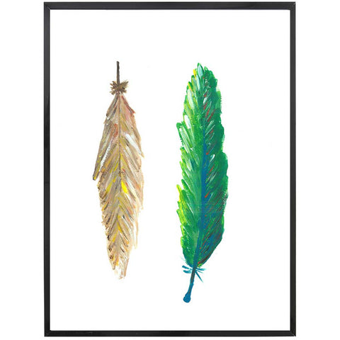 Ava | Beige and Green Feathers Painting | Boho | Art Print