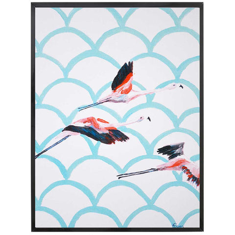 Miranda | Flamingo Painting | Pink and Blue | Art Print