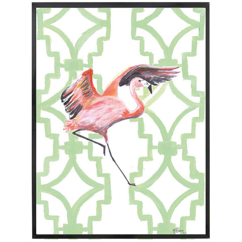 Flamingo Painting on Green Art Print