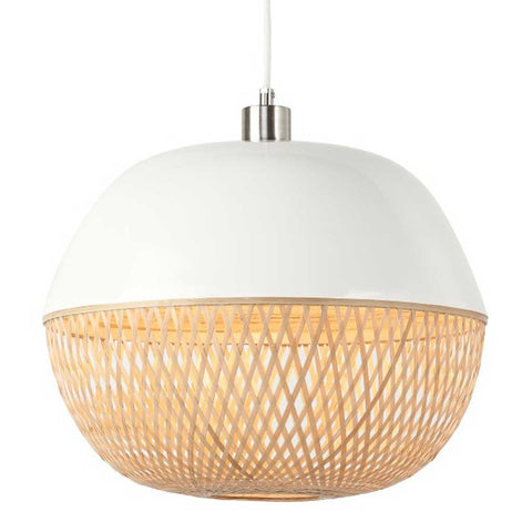 Round White and Natural Mekong Bamboo Pendant Light