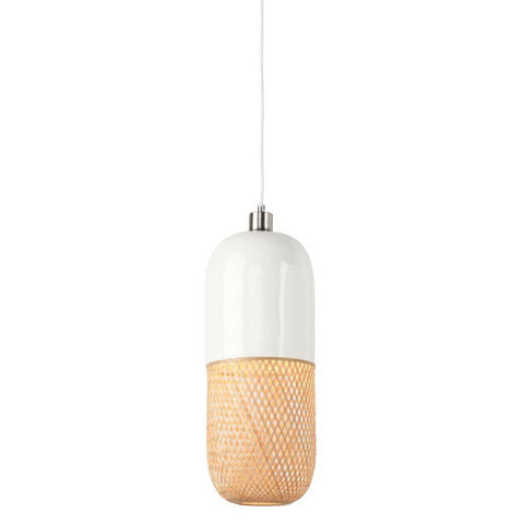 Tube White and Natural Mekong Bamboo Pendant Light