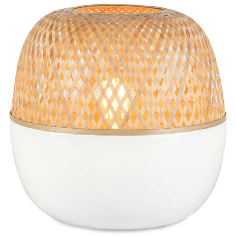 Small White and Natural Mekong Bamboo Table Lamp