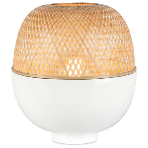 Medium White and Natural Mekong Bamboo Table Lamp