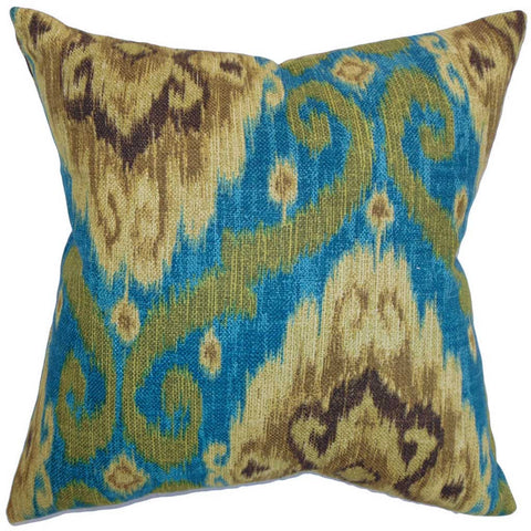 Deandre Ikat Cushion Cover in Peacock Green
