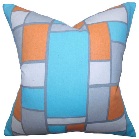 Bronwen Geometric Cushion Cover in Blue Orange