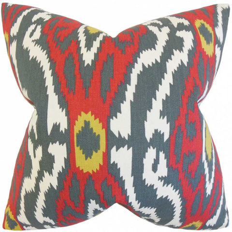 Imajica Ikat Cushion Cover in Grey and Red