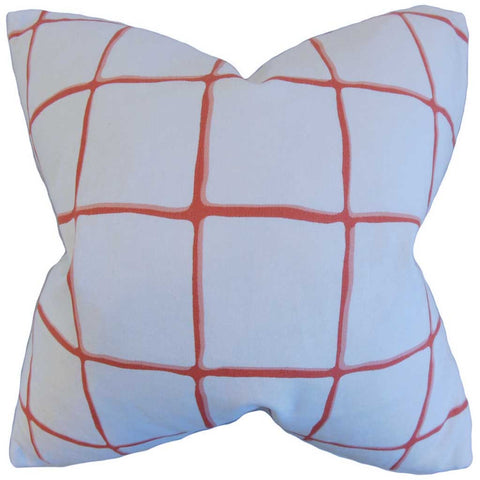 Owen Checked Cushion Cover in Poppy Red