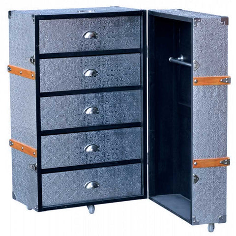 Bohemian handmade 5-Drawers Silver Embossed Chest Trunk