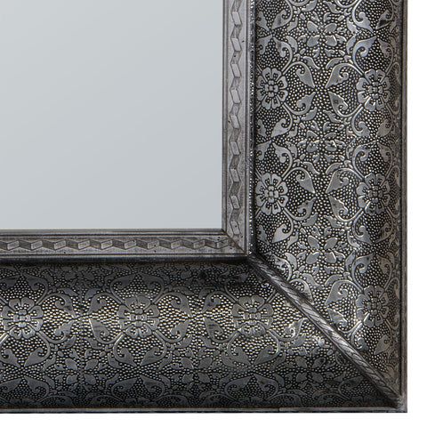 Bohemian Mirror Antique Silver Embossed