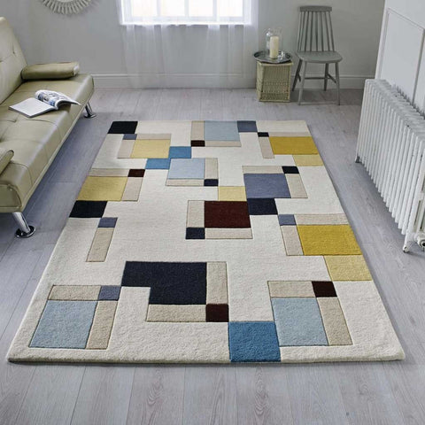 Illusion Abstract Blocks Rug in Blue and Ochre
