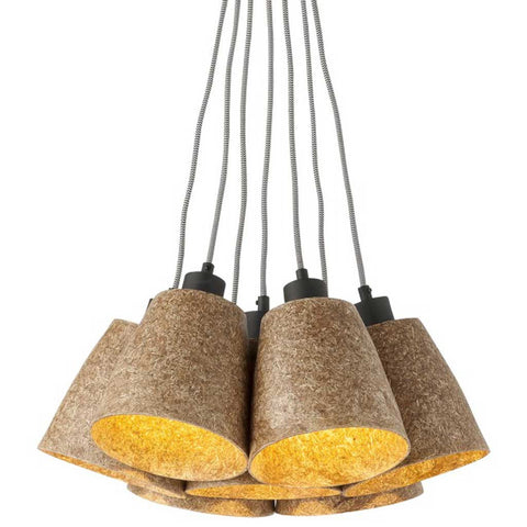 Sequoia 7 Shades Wood Chips Natural Pendant Light