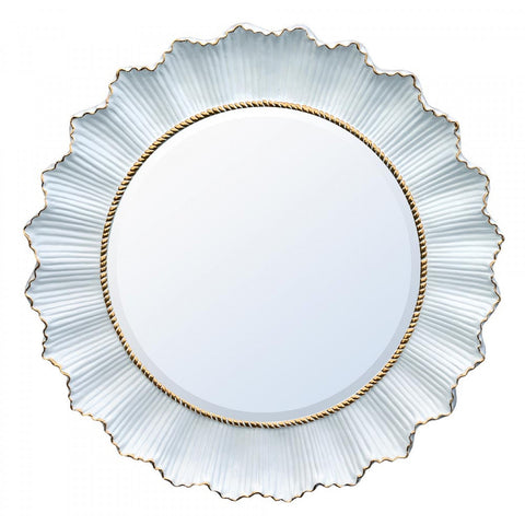Bohemian Round White and Gold Mirror