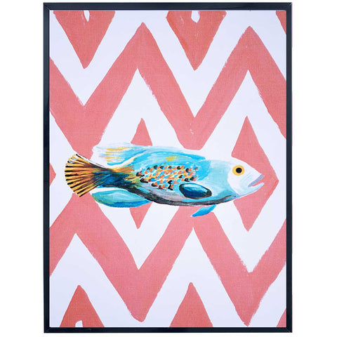 Oceania | Fish Painting| Blue and Red| Art Print