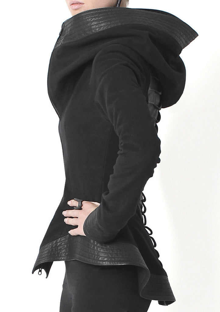 Leather Trim Peplum Jacket - Madonna and Co - 2