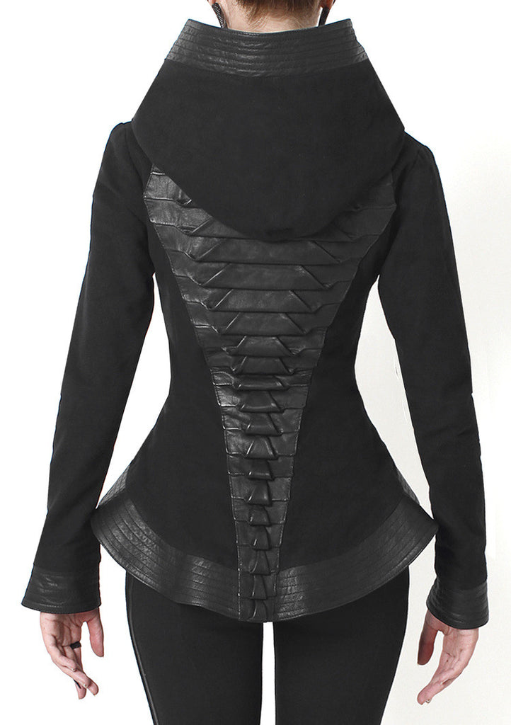 Leather Trim Peplum Jacket - Madonna and Co - 3