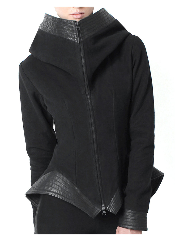 Leather Trim Peplum Jacket - Madonna and Co - 1