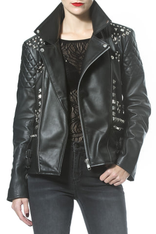 Pearl Trim Leather Jean Jacket