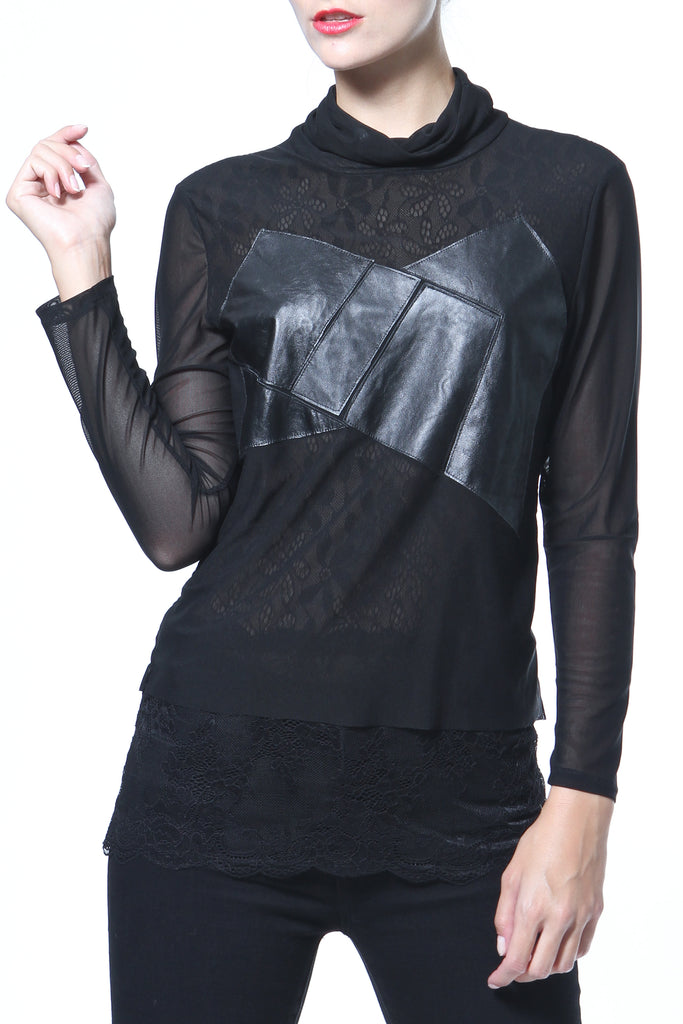 Leather & Knit Tunic