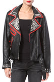 Stud & Embroidered Leather Moto