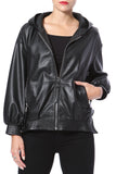 Zip Front Hooded Leather Bomber