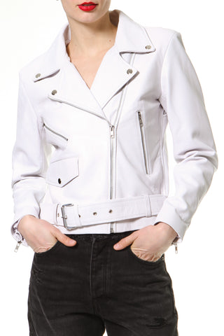 Crop 2-Tone Leather Biker