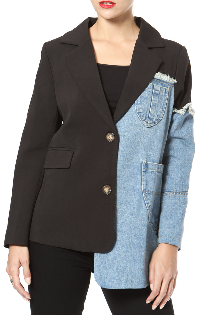 Asymmetrical Denim Blazer