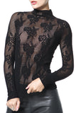 Mock Neck Lace Seamless Second Skin