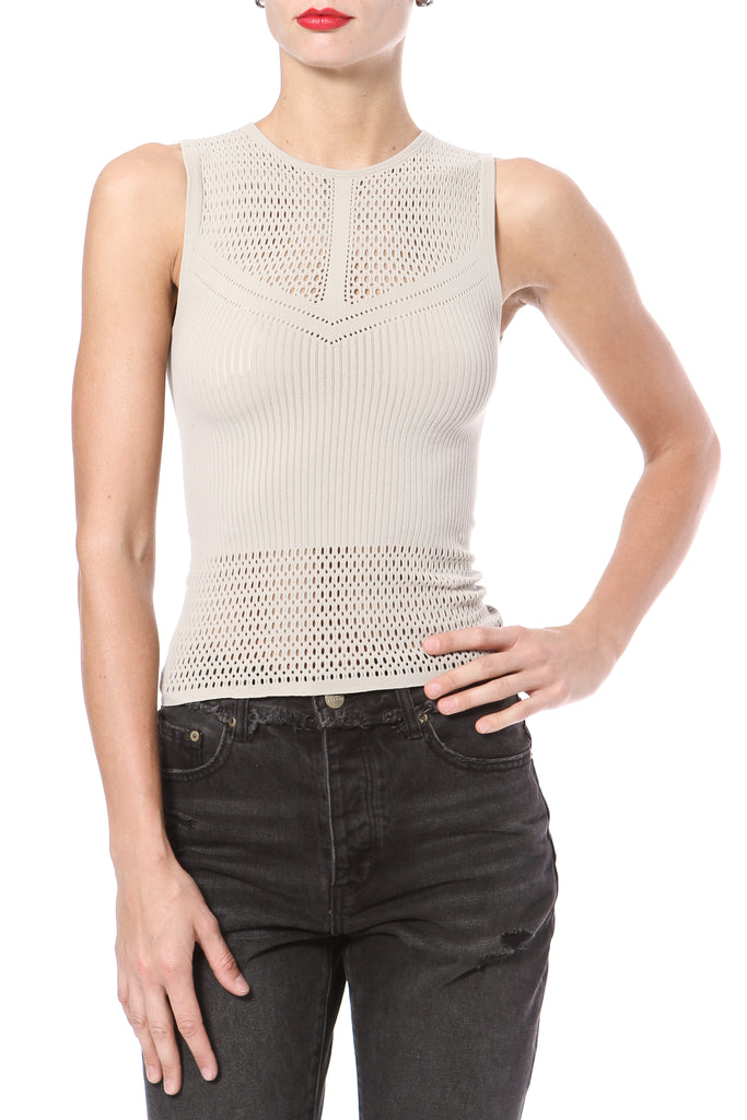 Pointelle Stitch Seamless Knit Top