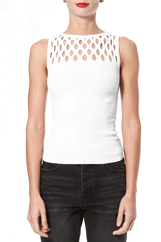 Lattice Detail Seamless Knit Top