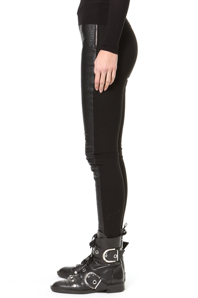 Stretch Embossed Leather-Knit Leggings