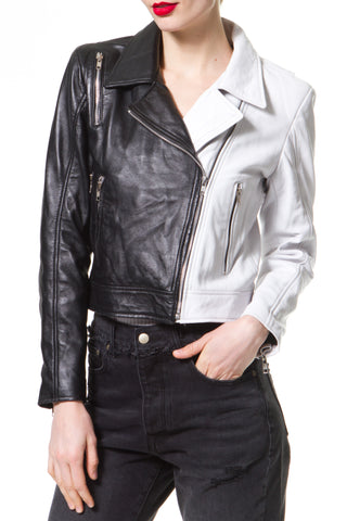 Star Embroidered Leather Moto