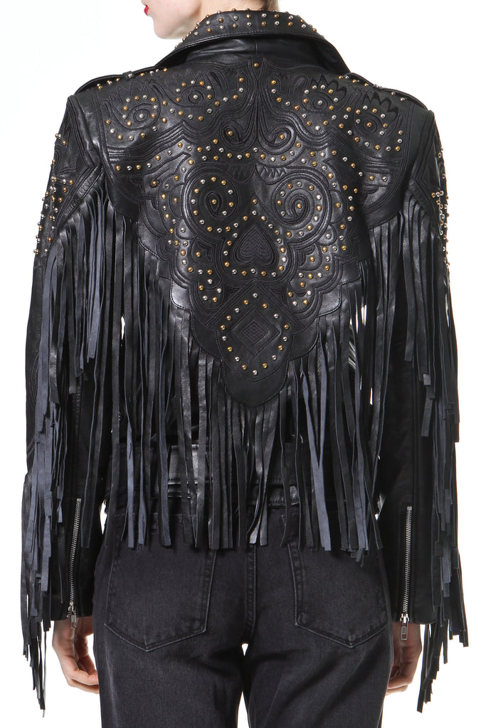 Studded Fringe Leather Biker