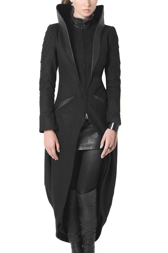 Dramatic High Leather Collar - Statement Coat - Madonna and Co - 2