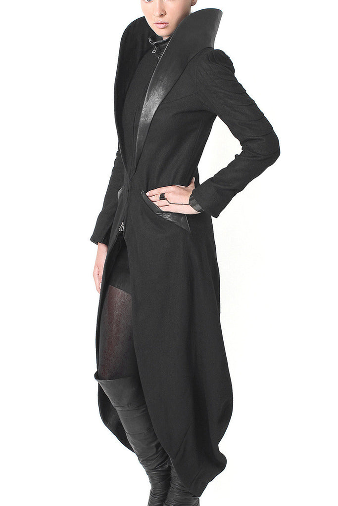 Dramatic High Leather Collar - Statement Coat - Madonna and Co - 1