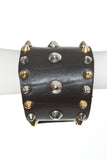 GOLD/SILVER STUDDED LEATHER CUFF - Madonna and Co