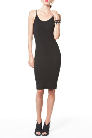 DRAPED BACK HI-LO DRESS