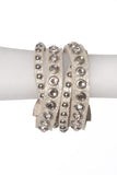 STUDDED LEATHER WRAP BRACELET - Madonna and Co