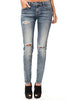 DISTRESSED MID-RISE LIGHT JEAN - Madonna and Co - 1