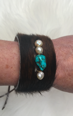 Leather Hair on Hide Cuff Bracelet w/ Freshwater Pearls