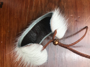 White Hair on Hide Leather Cuff Bracelet
