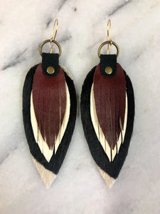 Black/White/Brown Leather Earrings