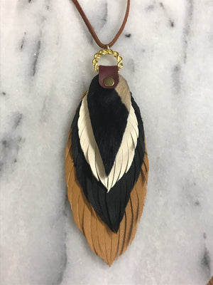 Leather & Cowhide Feather Choker Necklace