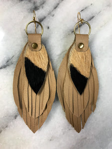 Tan Leather Earrings