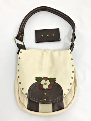 Bone/Brown w/Flower Small Shoulder Bag