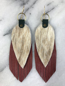 Tan cowhide Leather Earrings