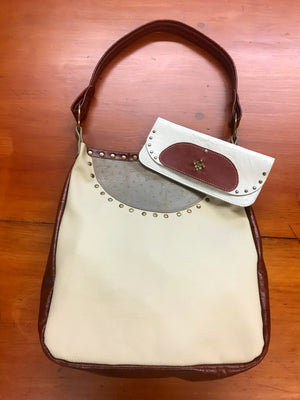 Bone & Brown Leather Small Shoulder Bag