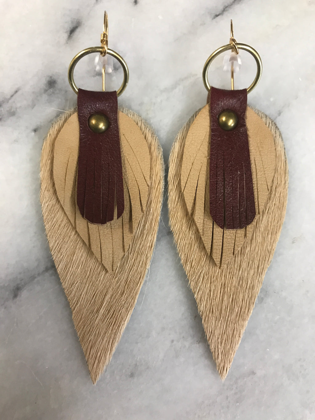 Cowhide teardrop Leather Earrings