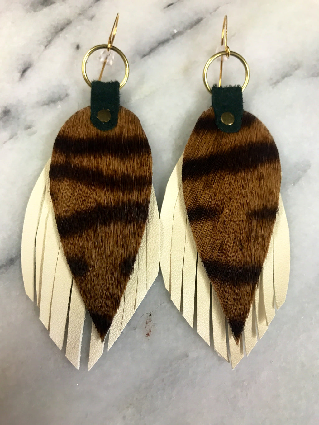 Teardrop Feather Leather Earrings